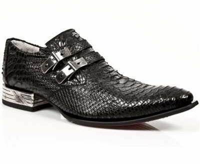 New Rock Black Snakeskin Leather Newman Shoes