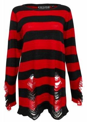 Kill Star Krueger Distressed Knit Sweater