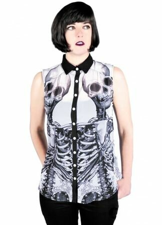 Fearless Illustration Stellar Skulls Chiffon Shirt