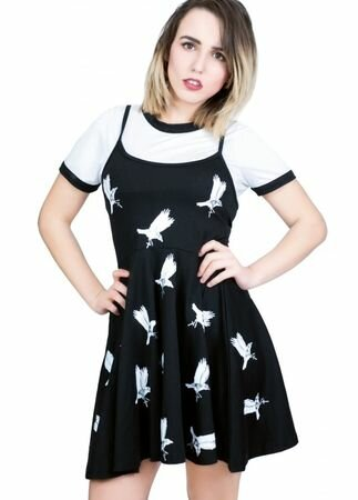 Fearless Illustration Embellished Ashes 2-in-1 Grunge Dress