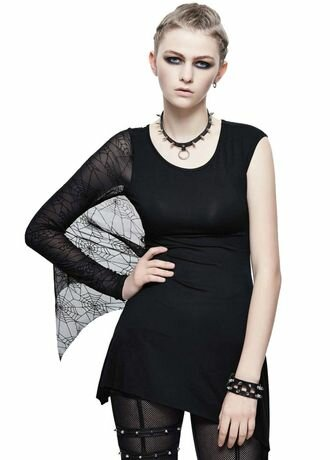 Devil Fashion Spider Web One Shoulder Gothic Top