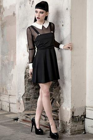 Jawbreaker Clothing White Collar Gothic Button Dress