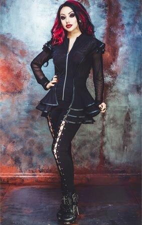 Necessary Evil Lucina Mesh & Leatherette Gothic Jacket